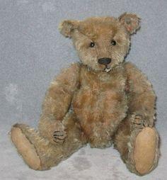 "antique Steiff Teddy Bear BLANK button 12.5"" long snout, hump back"