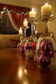 Flipped Wine Glasses as Holiday or Candle Holders | DIY Easy classy looking decoration for the holidays.