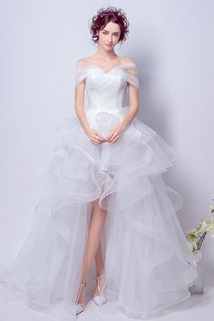 b1c32a0bfe9f4 Adorable Off The Shoulder High Low Tulle Ruffle Wedding Dress With Train