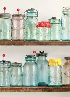 Vintage These vintage canning jars from the to the are the staple of retro country charm. - These vintage canning jars from the to the are the staple of retro country charm. Antique Bottles, Bottles And Jars, Glass Jars, Antique Glassware, Antique Dishes, Apothecary Bottles, Vintage Bottles, Ball Canning Jars, Ball Jars