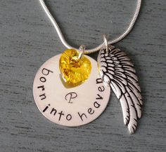 Remembrance Necklace, Bereavement Necklace, Personalized Baby Memorial Necklace, Born into Heaven, Miscarriage Necklace, Angel Wing, Heart