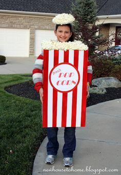Popcorn box costume - foam board, red duck tape