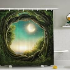3D Fantasy Moon Tree Shower Curtain Creative Waterproof Fabric Bath Curtain 1.8M