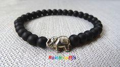 Matte Onyx Black gemstone bracelet. Elephant by RainbowElfs