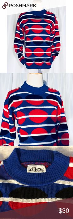 Vintage 80's La Vista Circle Design Sweater Vintage 80's La Vista Sweater Made in USA  Black, Blue, Red And White Geometric Circle Design  Minor piling  Small hole under armpit No size tag but seems to fit like small/medium  See measurement photos for specifics La Vista Sweaters Crew & Scoop Necks
