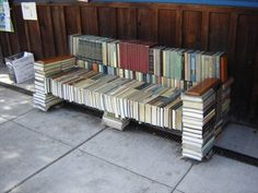 Book bench located in front of Duvall Books on the southeast corner of Main Street and Cherry, in downtown Duvall, Washington.
