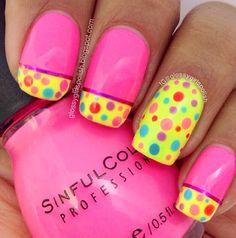 February nail art challenge day 4; polka dots