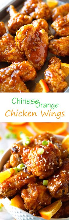 Chinese Orange Chicken Wings _ When I set out to make these utterly scrumptious wings, I had high hopes they would remind me of Chinese Orange Chicken takeout I had been craving. One bite & that's all (Orange Chicken Meals) Chinese Dishes Recipes, Asian Recipes, Ethnic Recipes, Chinese Desserts, Asian Foods, Chinese Orange Chicken, Chinese Food, Fried Chicken Wings, Baked Chicken