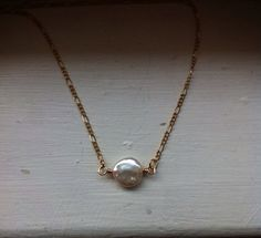 Freshwater coin pearl necklace on Etsy, $18.00