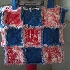 Rag quilt purse with toile and blue jean fabrics. Embroidered initials. Purse by Pammy