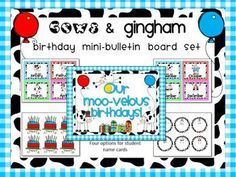 This is a fun cow-themed Birthday Mini-bulletin Board Set.Just print and laminate and write the student's names on the individual cards and put under the colorful month cards.This set is part of my Cows & Gingham Classroom Organization and Decor Set.