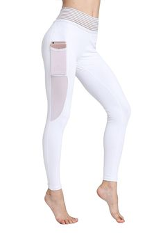 35221279b8762 Womens Lace Yoga Pants Mesh Workout Leggings Sports Running Pants with Side  Pocket -- You