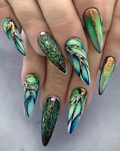 Coffin Nails Designs Trends Nail Art Ideas 2019 – Page 21 of 58 – hairstylesofwomens. com Coffin Nails Designs Trends Nail Art Ideas 2019 – Page 21 of 58 –. Fabulous Nails, Gorgeous Nails, Pretty Nails, Nails Yellow, Green Nails, Blue Nail, Acrylic Nails Green, Green Nail Art, Acrylic Nail Designs