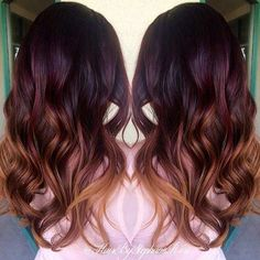 Dark Red to Caramel Ombre Hair