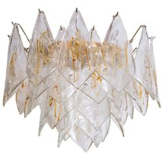 Clear & Amber Murano Chandelier by Mazzega