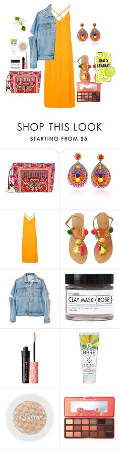 """Beach party"" by carliroda on Polyvore featuring JADEtribe, Ranjana Khan, Topshop, Fig+Yarrow, Benefit, Too Faced Cosmetics and Kate Spade"