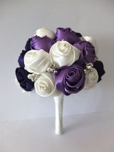 Handmade Ribbon Rose Bouquet- Purple & Ivory Flower accented with rhinestone (Small, 7 inch) on Etsy, $105.00
