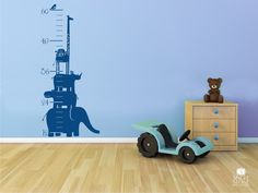FOR LUCIEN'S ROOM!!!! Growth Chart Wall Decal Safari Animal Stack - Nursery Vinyl Wall Stickers Art