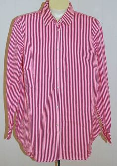 Ralph Lauren LRL Shirt 14W NWT Pink White Stripe $99 Cotton #LaurenRalphLauren #ButtonDownShirt