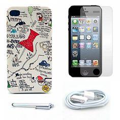 minirok brief patroon harde case en screen protector en stylus en kabel voor iPhone 4 / 4s – EUR € 5.51