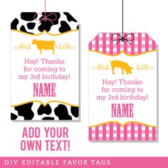 Paper goods and DIY printables for parties and holidays Vintage Farm Party, Country Western Parties, Starting A Farm, Favor Tags, Party Printables, Vintage Pink, 3rd Birthday, Favors, Calm