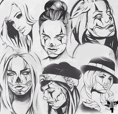 Chicano Style Tattoo, Chicano Tattoos, Body Art Tattoos, Gangster Drawings, Chicano Drawings, Arte Lowrider, Cholo Art, Clown Tattoo, Prison Art
