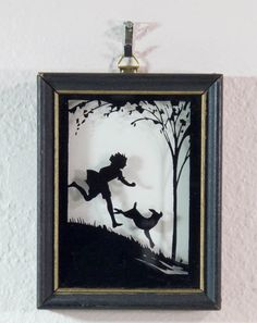 Silhouette Reverse Painting on Glass Nymphs Dancing and Child with Dog Running | eBay