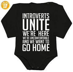 Introverts Unite - We Are Here And We Want To Go Home Baby Romper Long Sleeve Bodysuit XX-Large - Baby bodys baby einteiler baby stampler (*Partner-Link)
