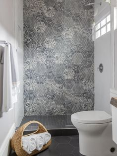 Property Brothers Take New Orleans/bathroom/vivid print hex tile in shower/hex floor tile/modern bathroom design/seen on Hello Lovley Studio