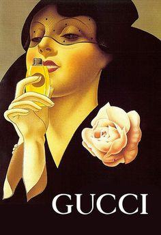 Vintage Italian Posters ~ #illustrator #Italian #vintage #posters ~ Haute Couture Gucci Art Deco Poster