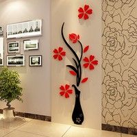 Wish | 3D Vase Flower Tree Crystal Arcylic Wall Stickers Art Home Room TV Decor DIY