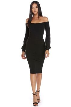 Look perfectly posh in this must have midi dress! It features an off the shoulder neckline, long sleeves with puff accents at the wrists and a ribbed sweater knit that offers plenty of stretch.