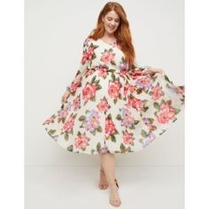 ba63f1706c20 Lane Bryant Women's Beauticurve Floral Pleated Midi Dress 26 Ivory And Pink