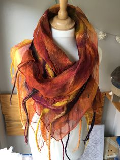 """""""Phoenix Embers"""" handmade Nuno felted scarf by Emma Hodgson of Coppertop designs. https://m.facebook.com/coppertopdesigns/"""
