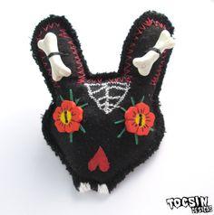 Sugar Skull Bunny brooch  rabbit pin brooch  day by TocsinDesigns, $14.99 #zombie #dayofthedead #goth #halloweenartistbazaar
