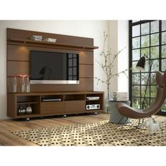 Manhattan Comfort Cabrini Panel Collection Floating Wall TV Panel TV Wall Mount with Shelf, L x D x H, Nut Brown Tv Cabinet Design, Tv Stand Cabinet, Tv Wall Design, House Design, Small Cabinet, Wall Unit Designs, Living Room Tv Unit Designs, Stand Design, Tv Stand And Panel