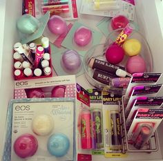 Eos and Baby Lips by Maybelline New York, tinted lip balm.