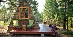 A-frame cabin, Montana, tiny house, Derek Diedricksen, affordable house, DIY cabin, solar power, solar panels, green architecture, Alla Ponomareva