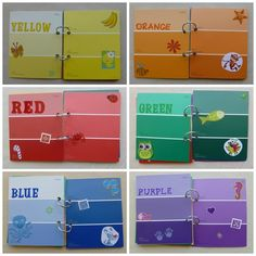 Homemade Color Book.  Made with paint samples.  Teach kids colors and that there are different shades of each color.