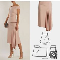 Diy dress skirt pattern makingDiscover thousands of images about Tutorial kain kipas hadapanhow to draft a sleevefrom fashion design Skirt Patterns Sewing, Clothing Patterns, Pattern Sewing, Asymmetrical Skirt, Fashion Sewing, Look Fashion, Pattern Fashion, Diy Clothes, Fashion Dresses