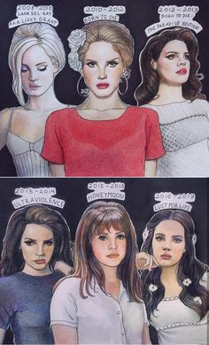 Lana Del Rey eras / discography #art by Katya Mikhaylovak Lana Del Rey Outfits, Lana Del Ray, Lana Del Rey Love, Lana Del Rey Memes, Fanart, Alternative Artists, Napoleon Hill, Couture Trends, Drawings