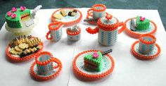 Perler Tea table setting - Perler Bead designs - Fuse bead designs - Perler Bead - Perler bead art - #perlerbead