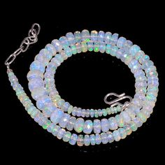 "67 CRTS 3.5to7.5 MM 17"" ETHIOPIAN OPAL FACETED RONDELLE BEADS NECKLACE OBI886 #OPALBEADSINDIA"