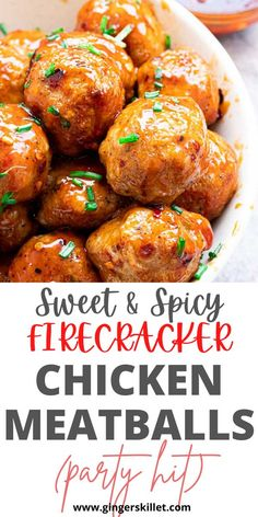 Spicy Chicken Meatballs aka Firecracker meatballs recipe with step-by-step instructions. These spicy and sweet twice-baked chicken meatballs are super easy to make and tastes delicious as an appetizer or in a meal! Baked Chicken Meatballs, Chicken Meatball Recipes, Firecracker Meatballs, Lunch Recipes, Appetizer Recipes, High Protein Recipes, Healthy Recipes, Sweet And Spicy, Super Easy