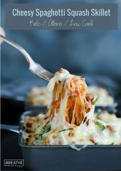 Cheesy spaghetti squash skillet - tender strands of spaghetti squash swimming in a tangy meat sauce & loaded with stringy mozzarella cheese! Keto & Low carb