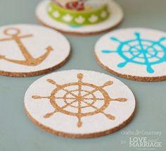 Make nautical coasters! Great summer craft ideas:  http://www.completely-coastal.com/2015/05/diy-coastal-nautical-coasters.html