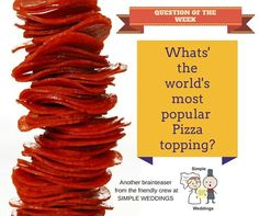 "Time for the QUESTION of the week!  ""What's the world's most popular #Pizza topping?""  C'mon any guesses?  #AdelaideCelebrant #Questionoftheweek"