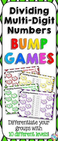 Division Bump Games contains 10 different division games to help students practice dividing multi-digit whole numbers. As students work through these division games, each one ramps up in difficulty. This means that you can have all of your students working at their appropriate level when using this set! https://www.teacherspayteachers.com/Product/Division-1995214