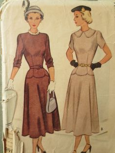 Vintage McCall's 7368 Sewing Pattern 1940s Dress by sewbettyanddot, $15.50