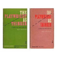 Some esoteric Alvin Lustig musings for #TwosDay this week. By 1955 when The Playwright as Thinker was first released Elaine Lustig was already acting as the eyes of her by-then-blind husband Alvin. This was one of the handful of pieces they made collaboratively before he died later that same year. The original design (left) was signed as Alvins work as was their custom just prior to his passing away. But ten years and ten printings later (right 1965) Alvins signature remains although his… Playwright, Book Publishing, Cover Design, No Response, Acting, Typography, The Originals, Blind, Books